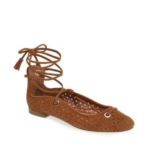 Halogen Brown Lace Up Flats Sandals Pointed Toe